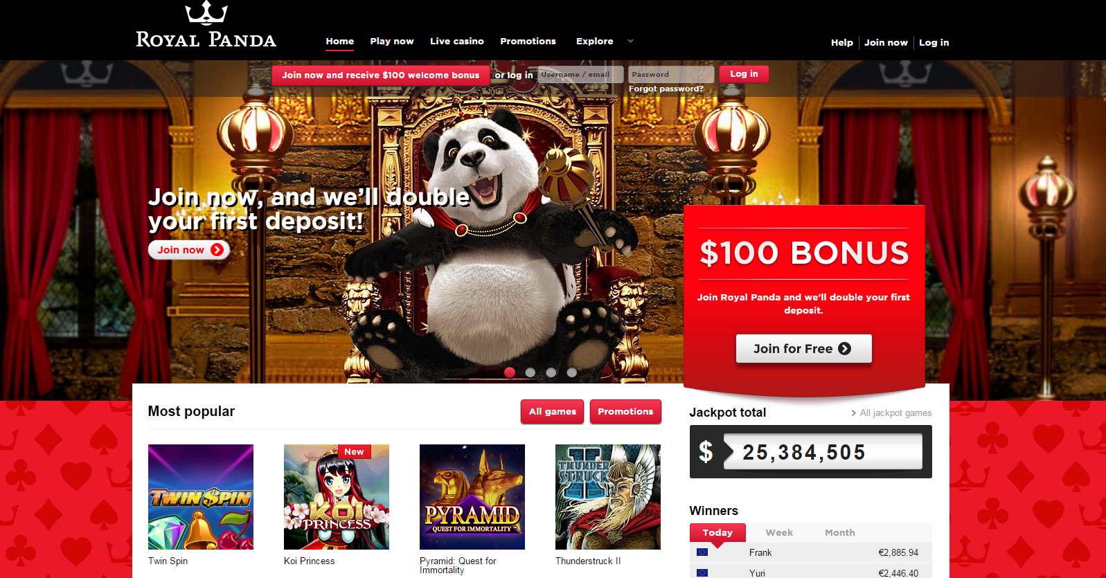 sign up free spins royal panda