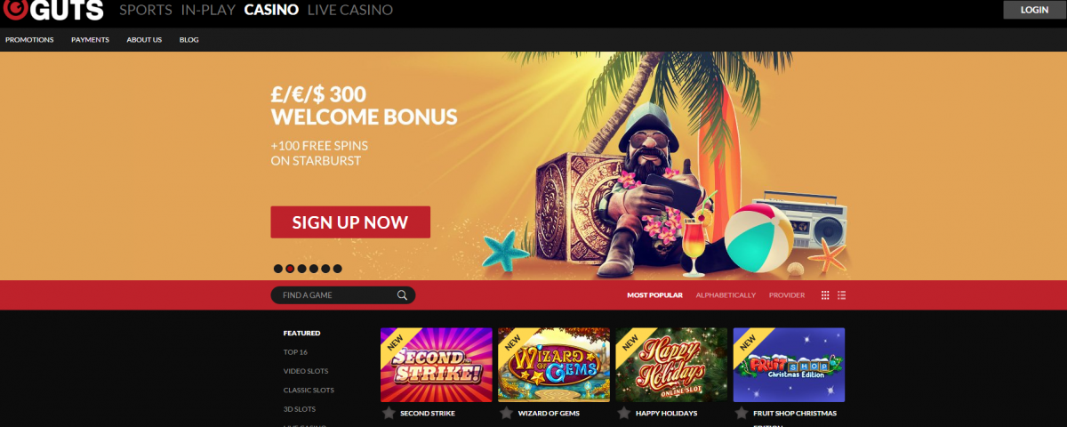 no deposit free spins guts casino