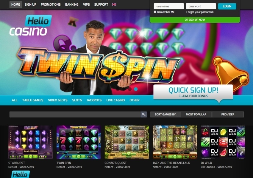 sign up bonus hello casino