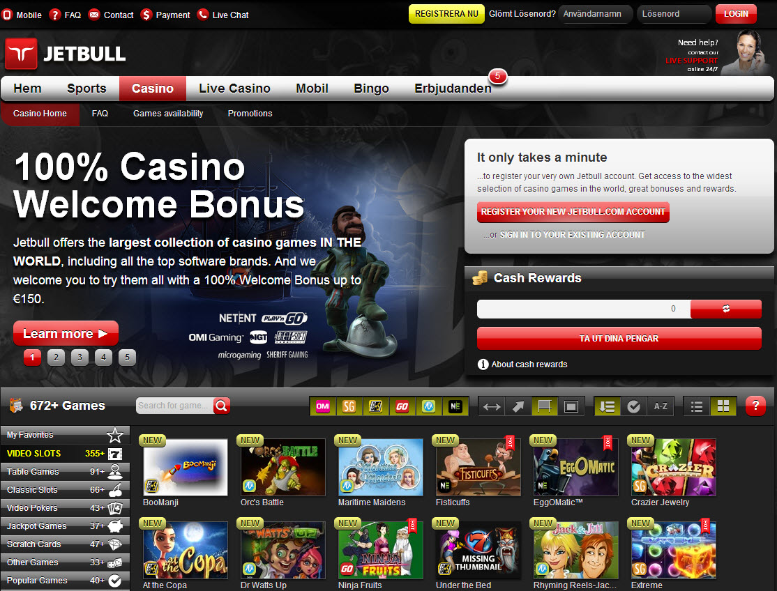 Welcome casino bonus Jetbull