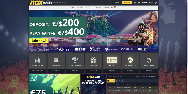 casino welcome bonus noxwin