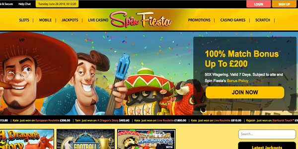 sign up free spins spin fiesta